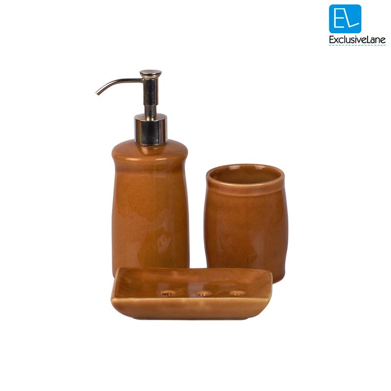 Elegant Bathroom Accessories Cheap: Buy ExclusiveLane Elegant Ceramic Mustard Bathroom
