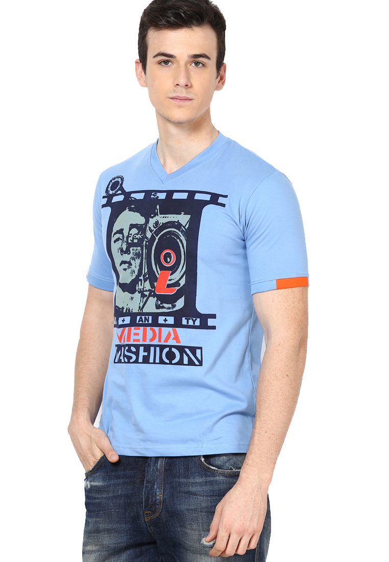 Shanty Stylish Men's Indigo Graphic Cotton T-Shirt