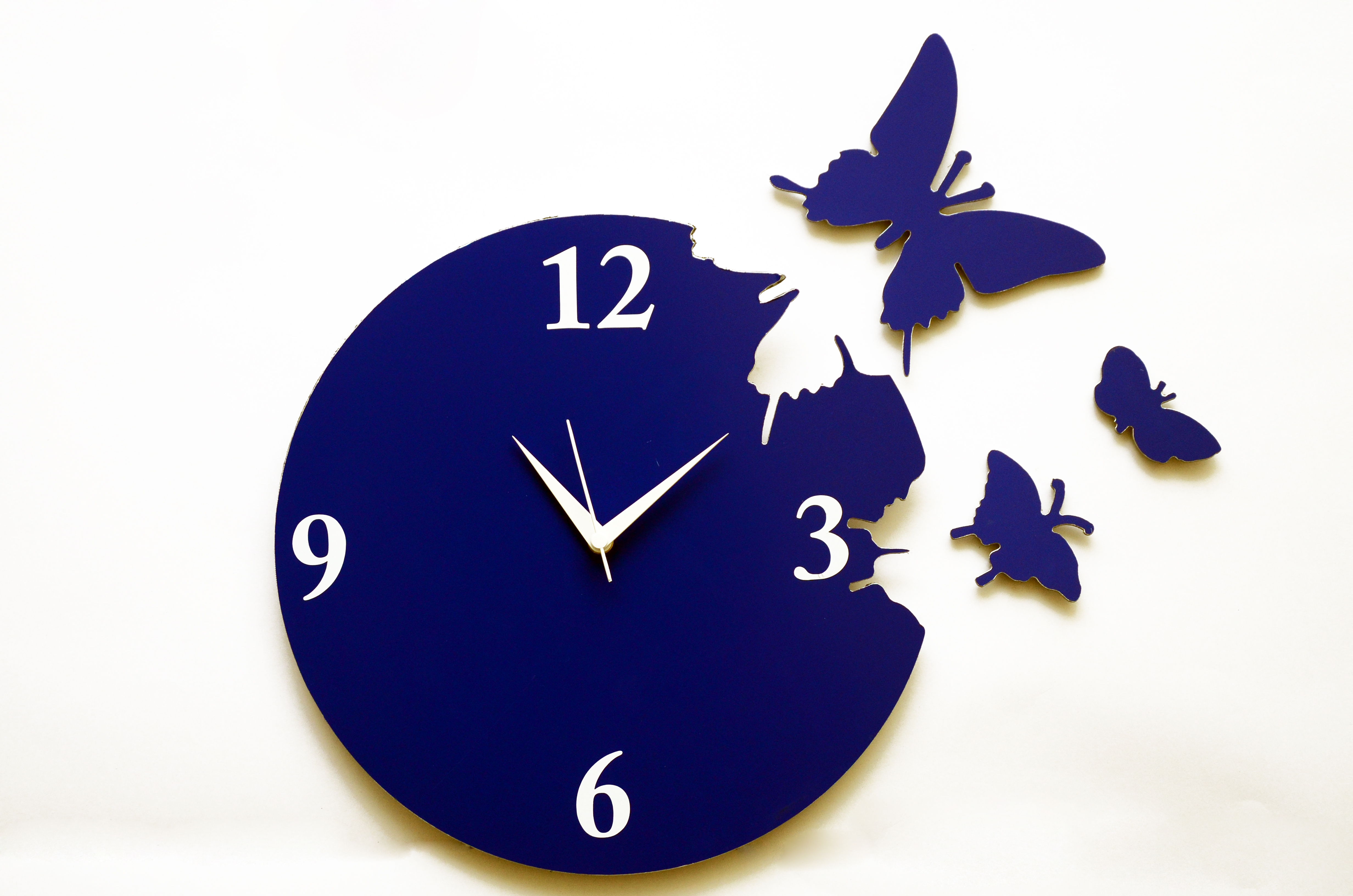 Panache Aluminium Wall Clock -Pan020 Butterfly(Blue)