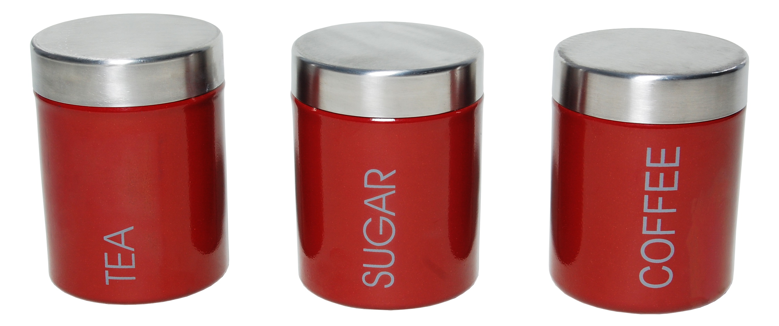 3 Pcs Tea Coffee Sugar Canister Set Red 4513