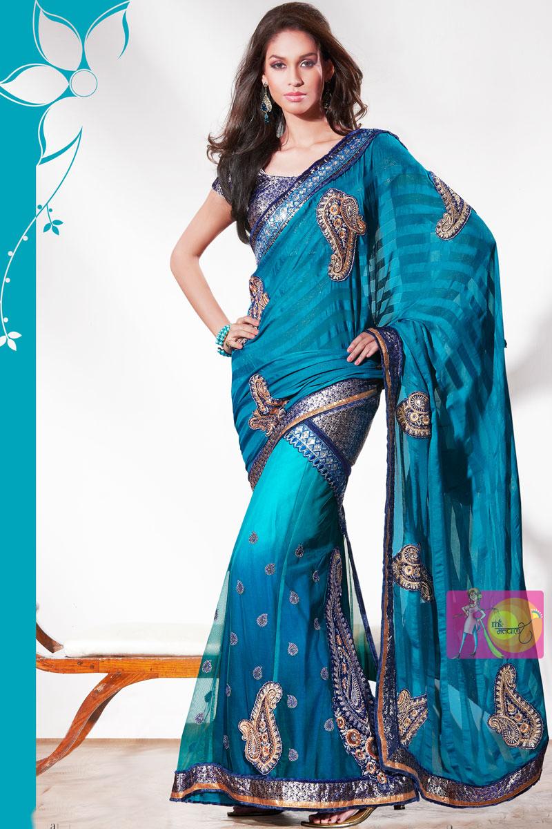 Matwali Mild Blue With Traditional Peacock Weaving Lehenga Saree