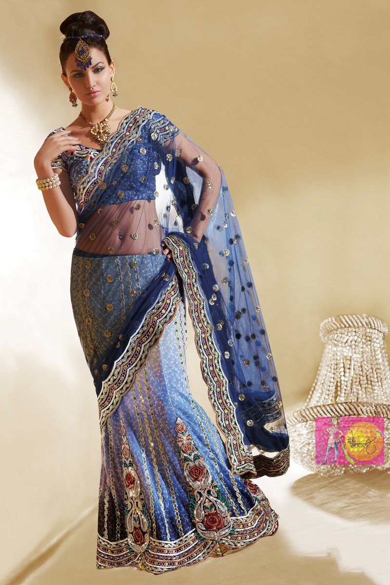 Amazing Peacock Color Lehenga Embroidered Saree