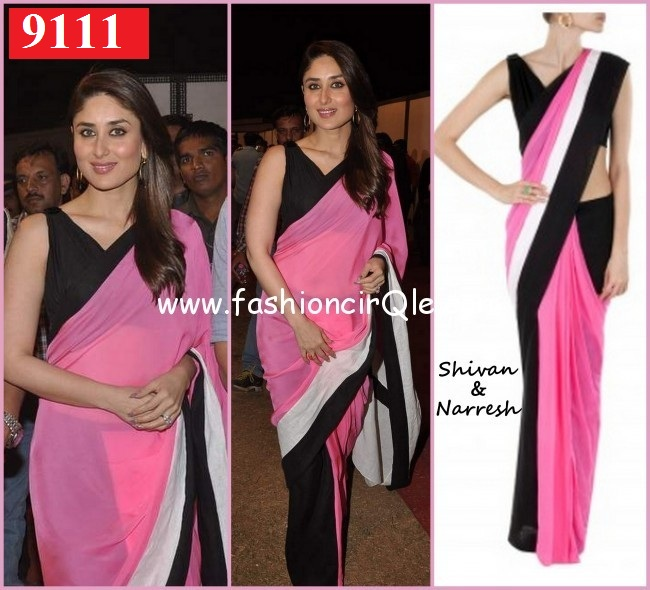 Indian Designer   Kareena Pink  Black Bridal Saree
