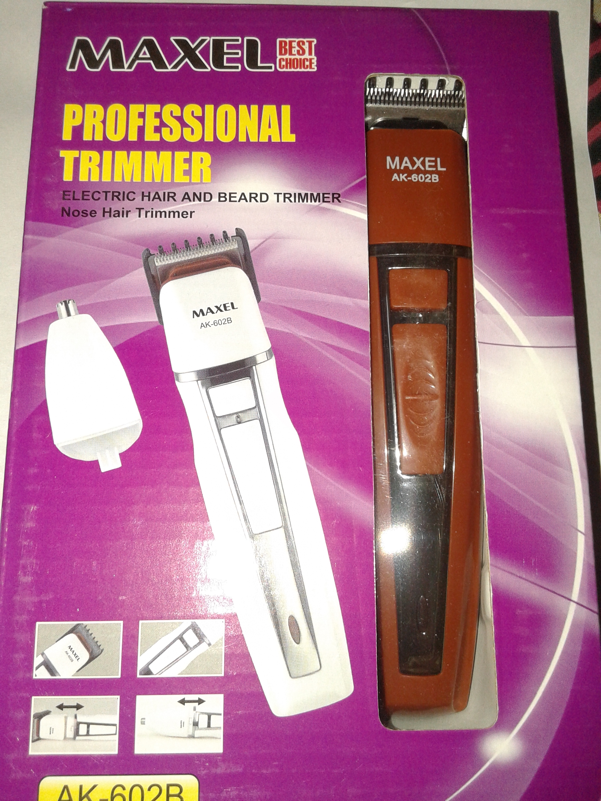 maxel 2 in 1 electric hair and beard trimmer nose hair trimmer. Black Bedroom Furniture Sets. Home Design Ideas