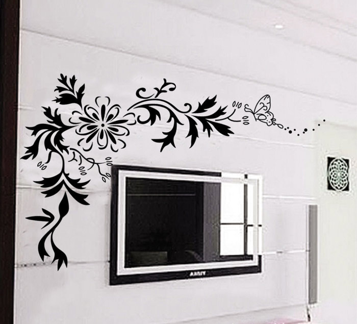 Tv wall decor stickers : Wall stickers decals tv background black removable