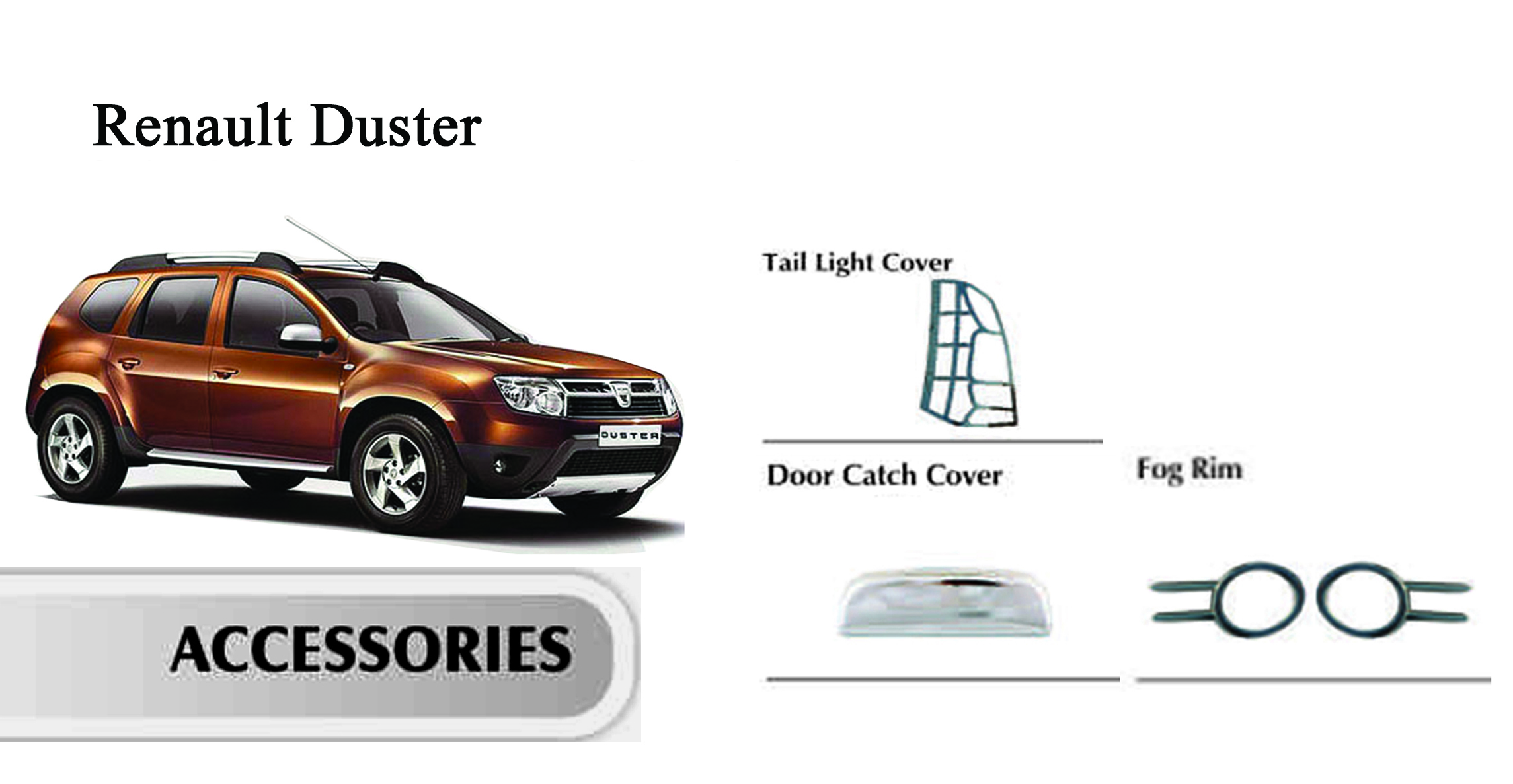 chrome plated premium quality combo kit for renault duster. Black Bedroom Furniture Sets. Home Design Ideas