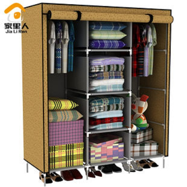 Ei stylish foldable canvas cupboard cabinet almirah wardrobe brown in india shopclues online - Stylish almirah for room ...