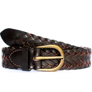 tops brown braided leather belt