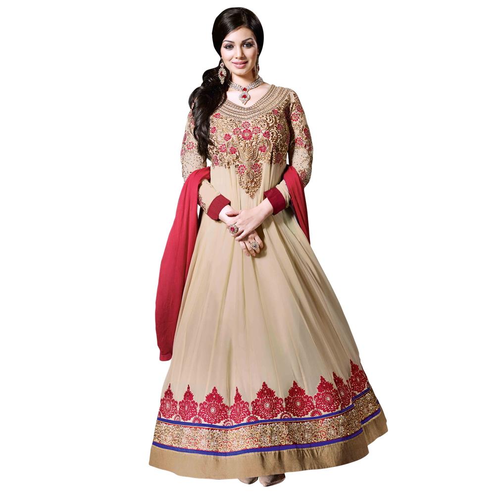 Surya lifestyle cream colored zari resham embroidery work