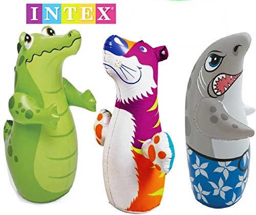 Intex 3D Bop Bag Blow Up Inflatable Alligator, Shark  Tiger Gift, (Random design will be dispatch)