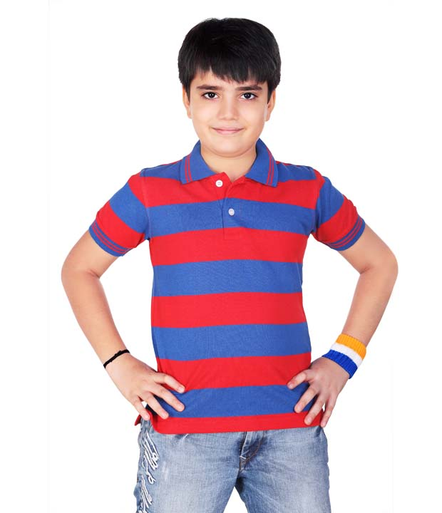 Dongli boys striped polo tshirt for Red blue striped shirt