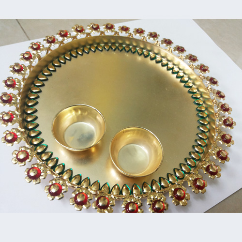 Nehal arts decorative pooja thali for Aarti thali decoration with kundan
