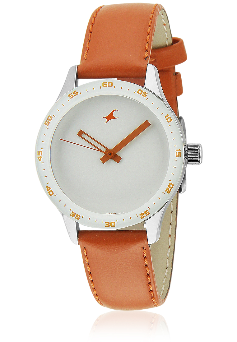 Fastrack Leather Analogue Orange Watch For Girls