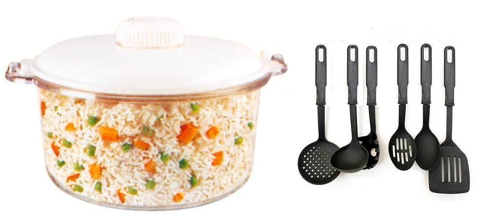 Combo of microwave rice cooker 1 pcs with kitchen tool set for Kitchen tool set of 6pcs sj