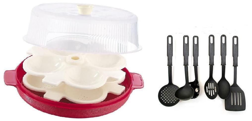 Combo of microwave idli maker with 2 plates with kitchen for Kitchen tool set of 6pcs sj