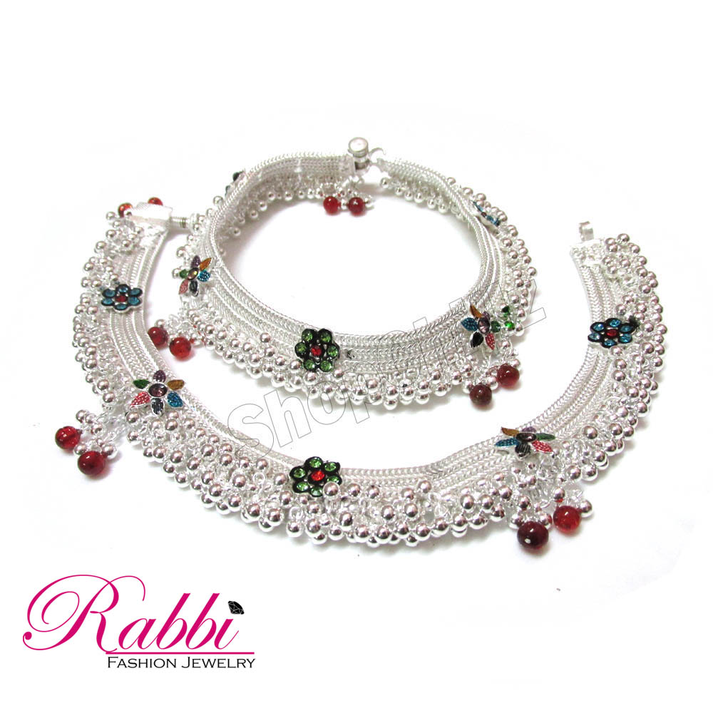 Jodha Style Beautiful design silver plated Bridal anklet (payal) with colorball at Best Prices ...