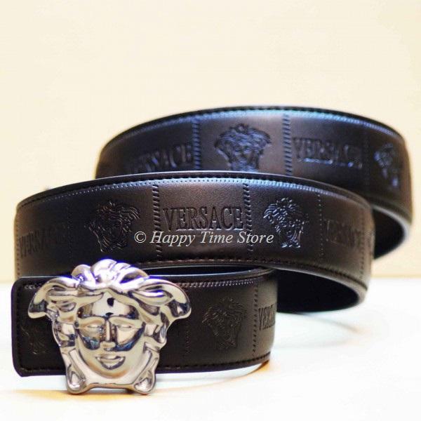 versace medusa embossed black leather belt with silver