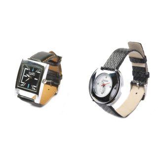Men's Black Square Dial Watch  + Women's Black Watch New
