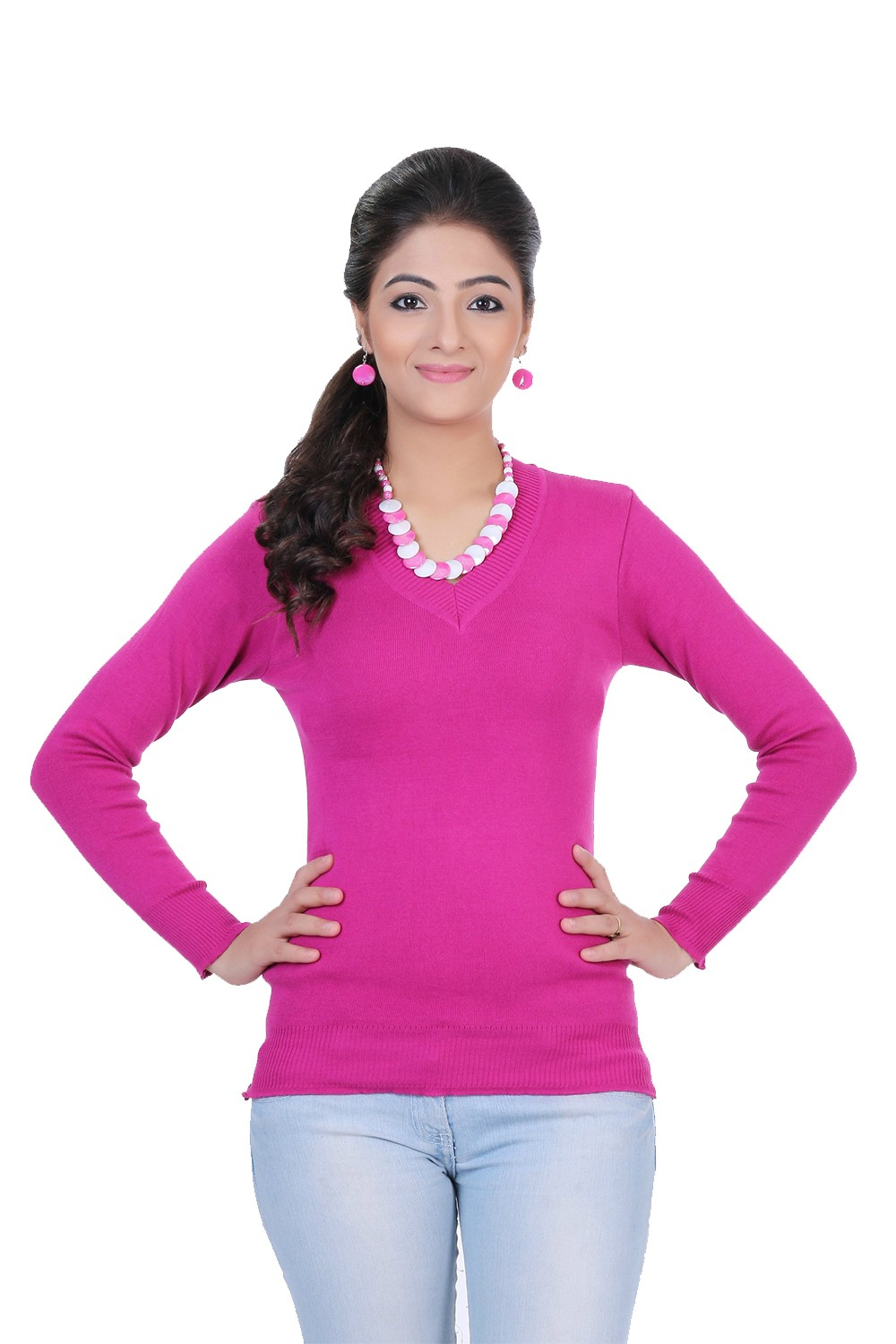 Renka Knitted Winter Pullover top - Pink Color - Women causal Wear