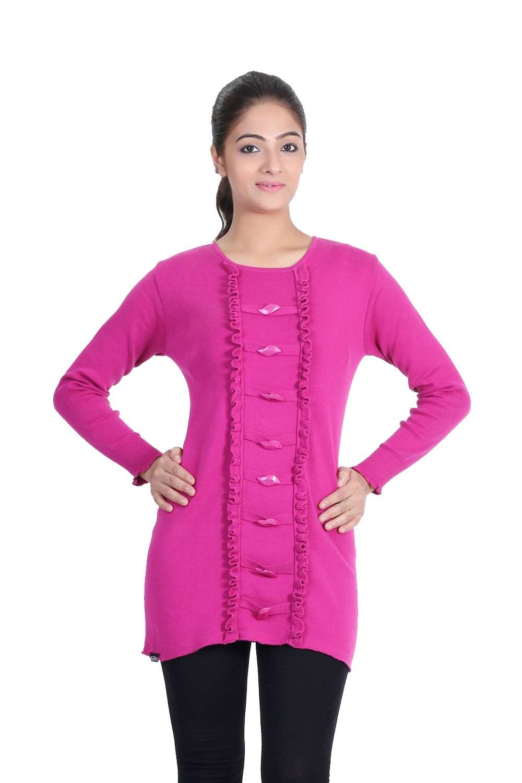 Renka Bright Pink  Knitted Winter Tops - (L)