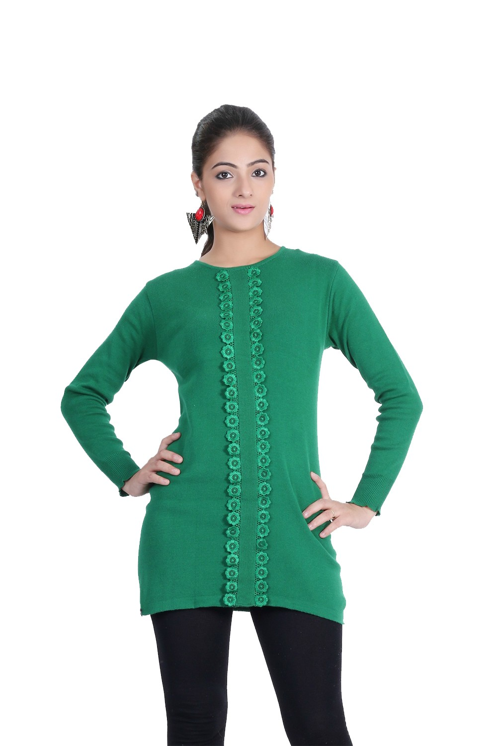 Renka Casual Green Knitted Winter Tops - (L)