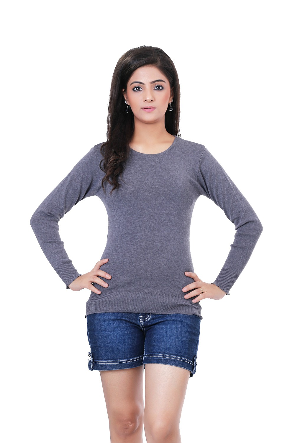 Renka Knitted Winter Pullover top - Grey Color - Women causal Wear