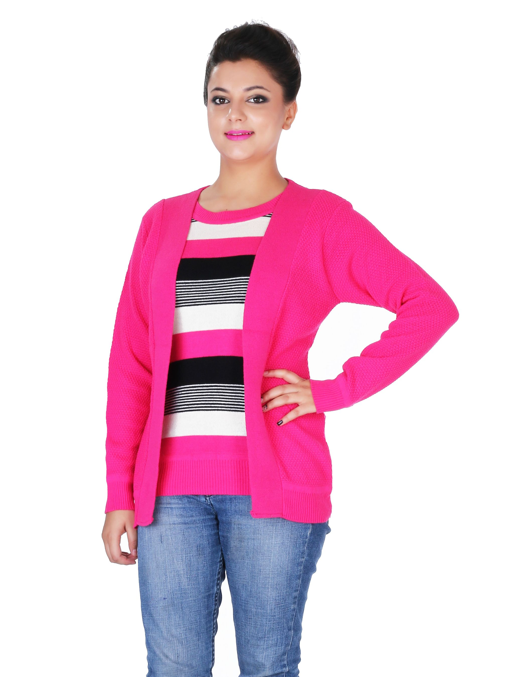 Renka Pink Casual Knitted Winter Top-(L) -2522-bright-pink