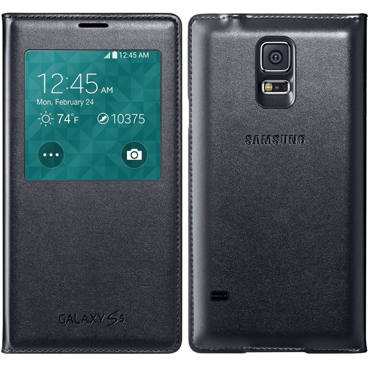 Shop S-View flip Cover for Samsung Galaxy S5 Synthic Leather ...