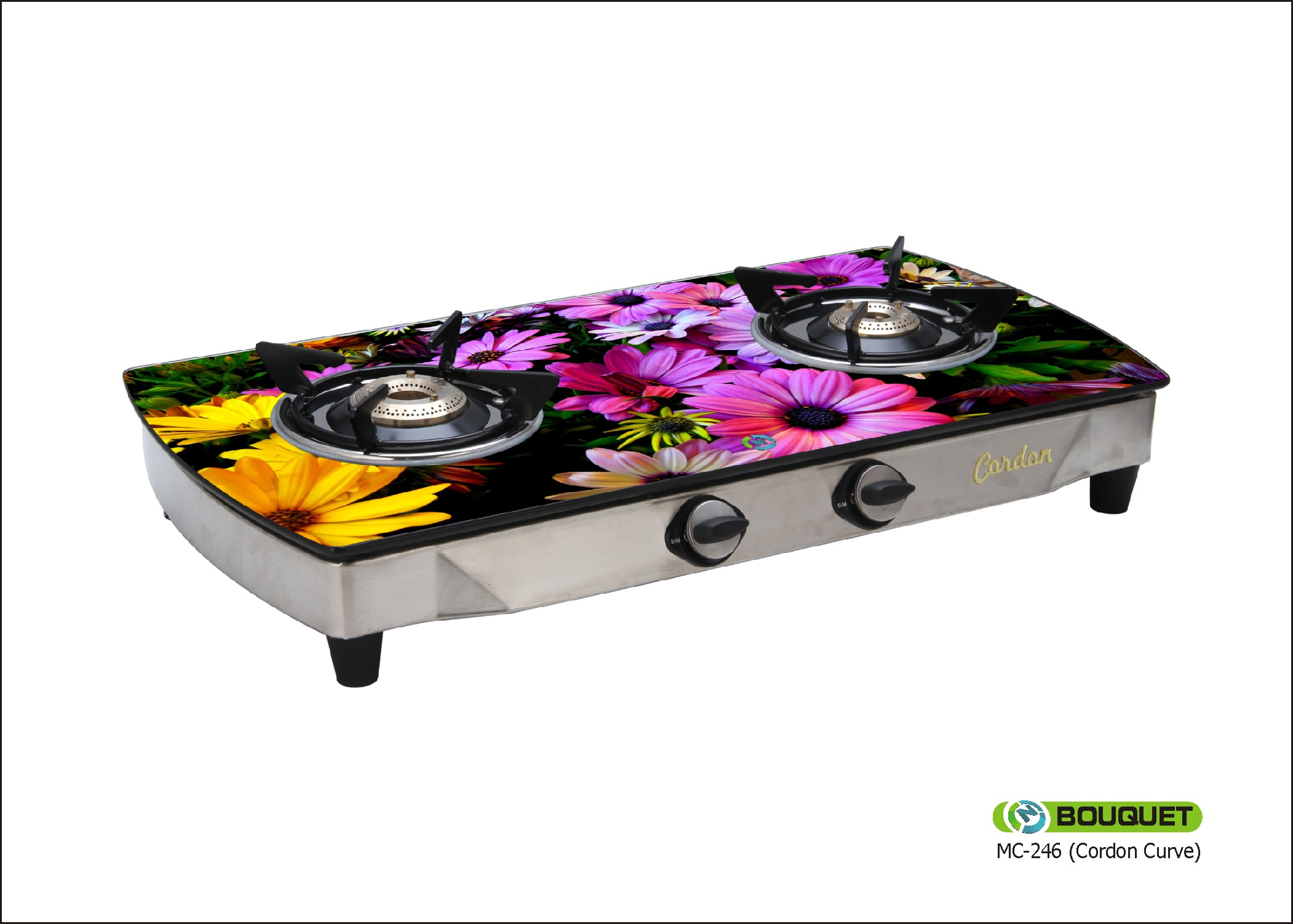 246 Bouquet 2 Burner Glass Top Gas Stove Fruitish Design: Buy Online