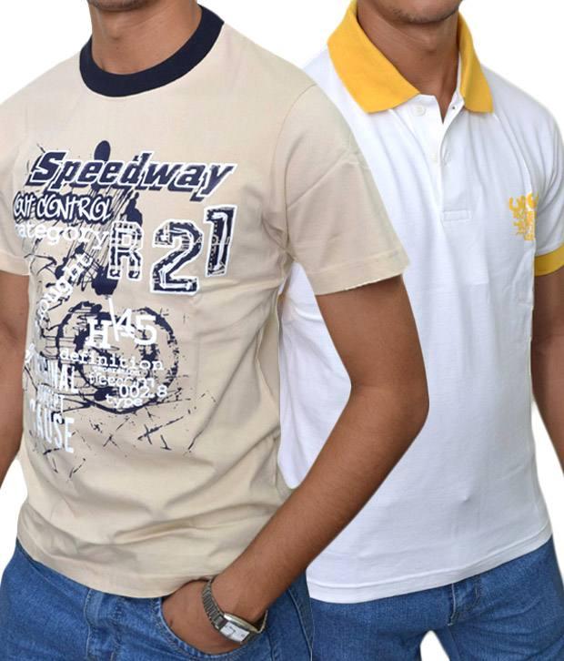 Rags men 39 s t shirt combo fawn white for T shirt rags bulk