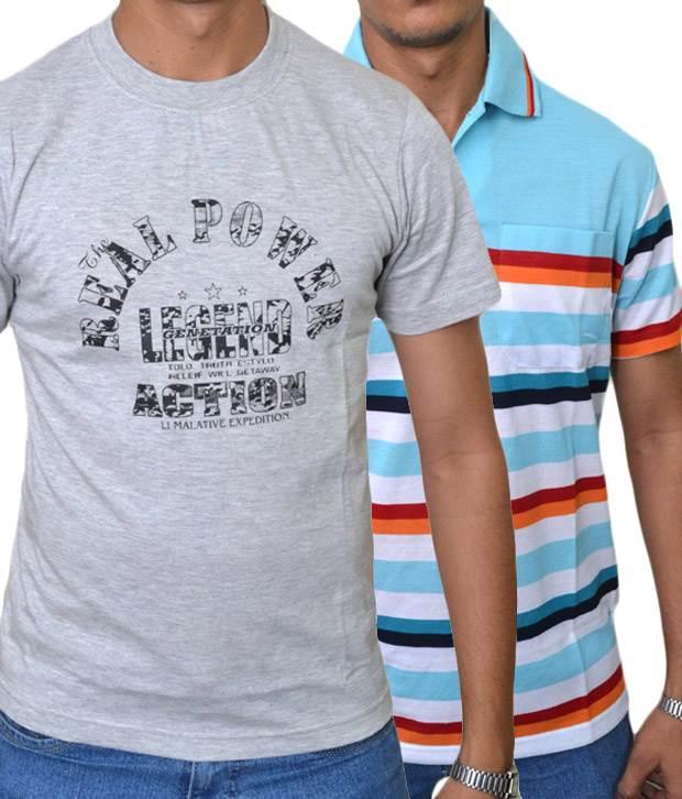 Rags men 39 s t shirt combo grey ferozi for T shirt rags bulk