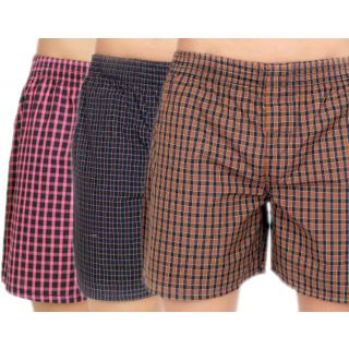True Fashion Combo Of 3 Cotton Checkered Boxer Shorts SA3CBXR08