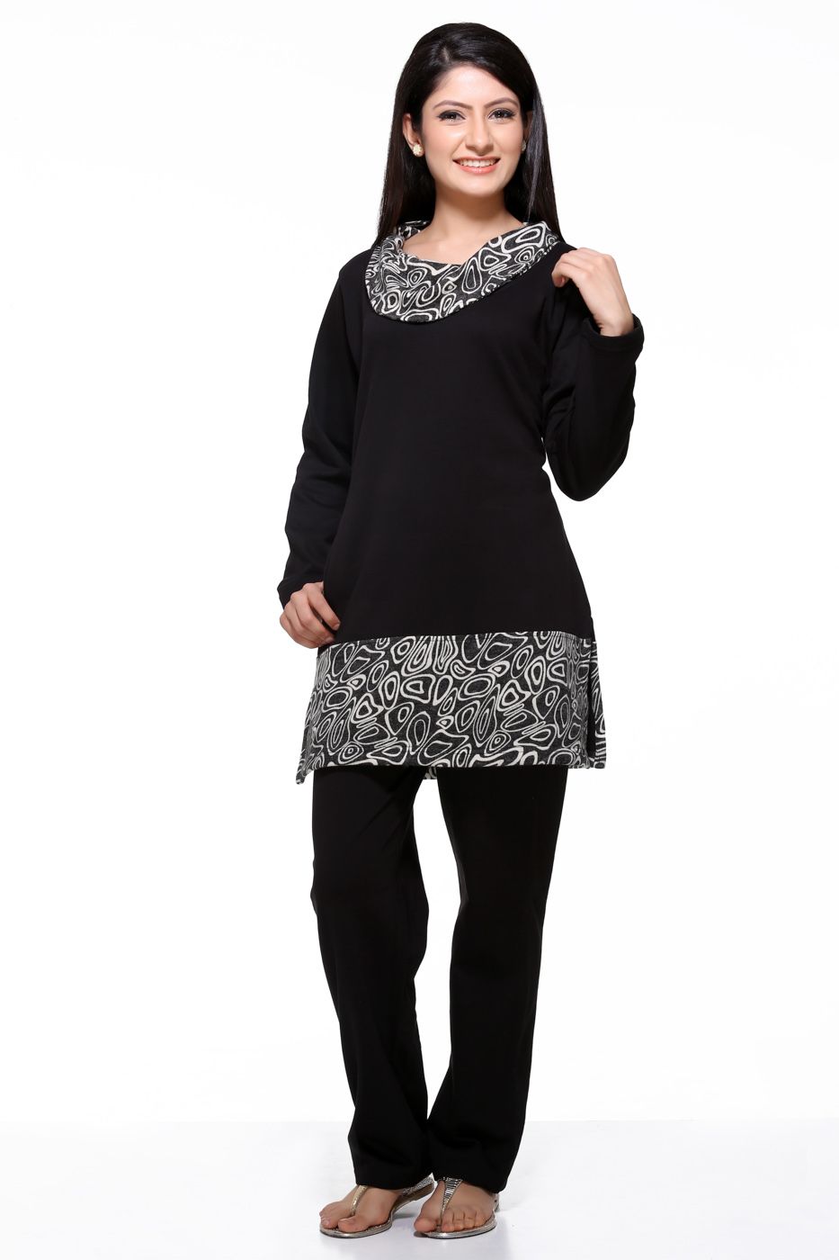 Dove Winter Night Suit Set With Zebra Print Ns11 Black