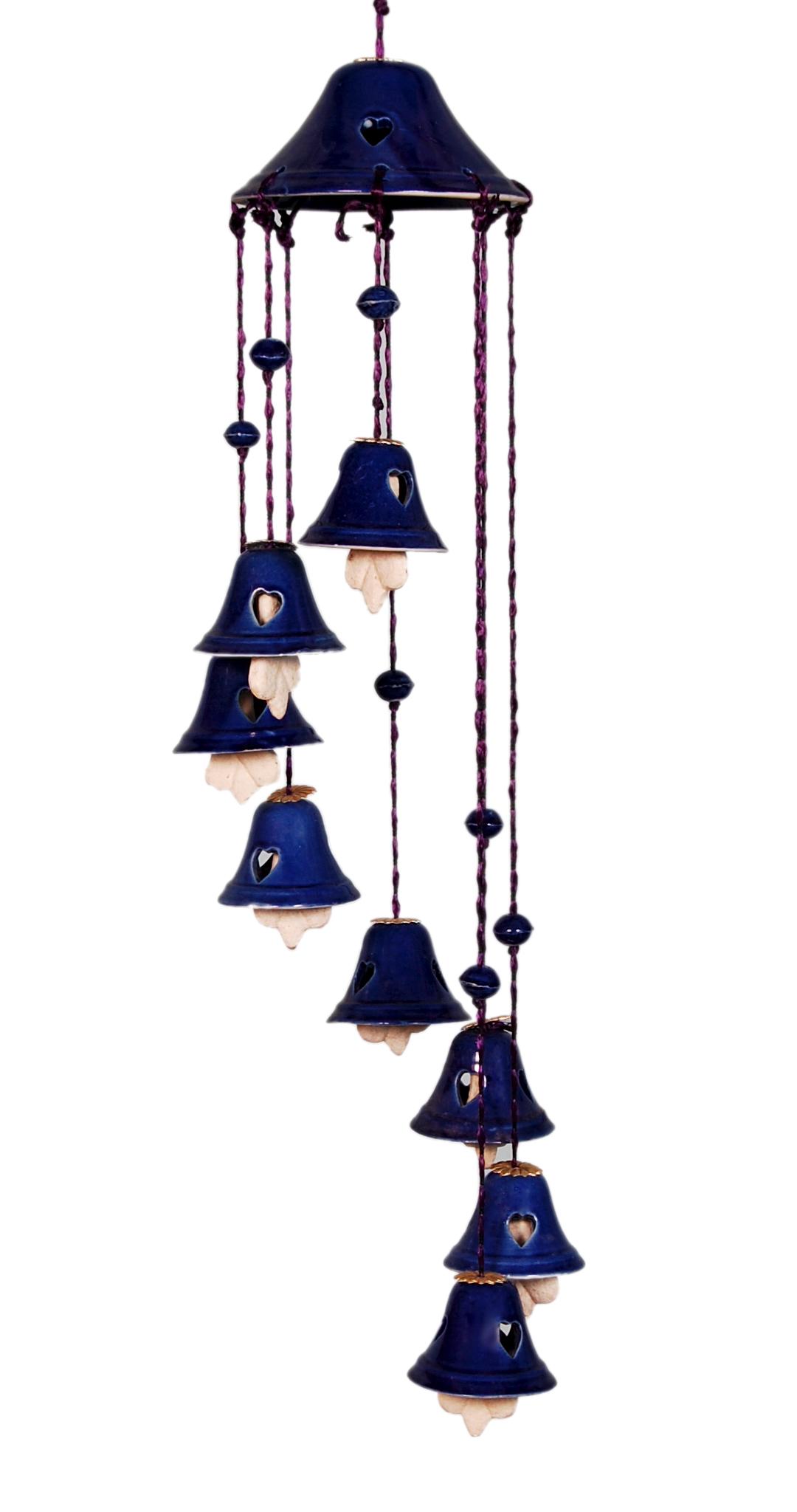 Buy Navin Unique Design Blue Colour 8 Bells Ceramic Made