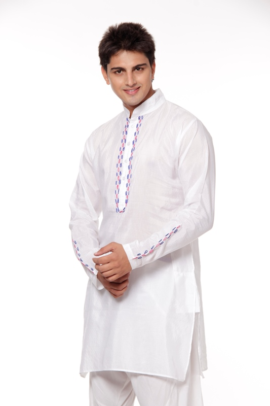 FB BIC Plain White Kurta With Embroidered For Men