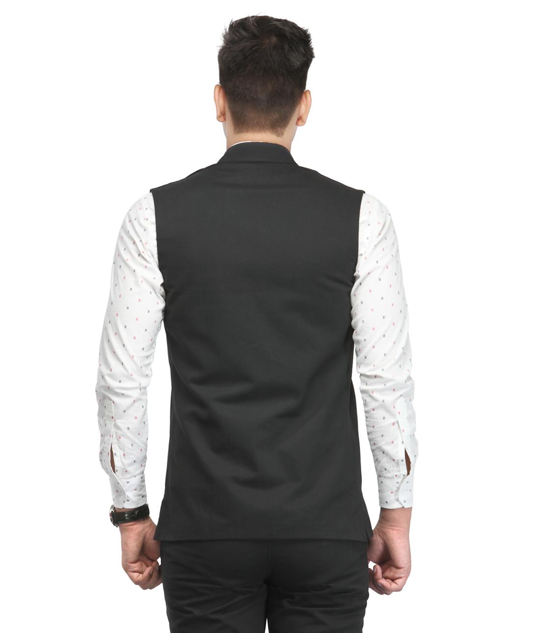 Shop haute couture black nehru jacket online shopclues for Haute couture jacket