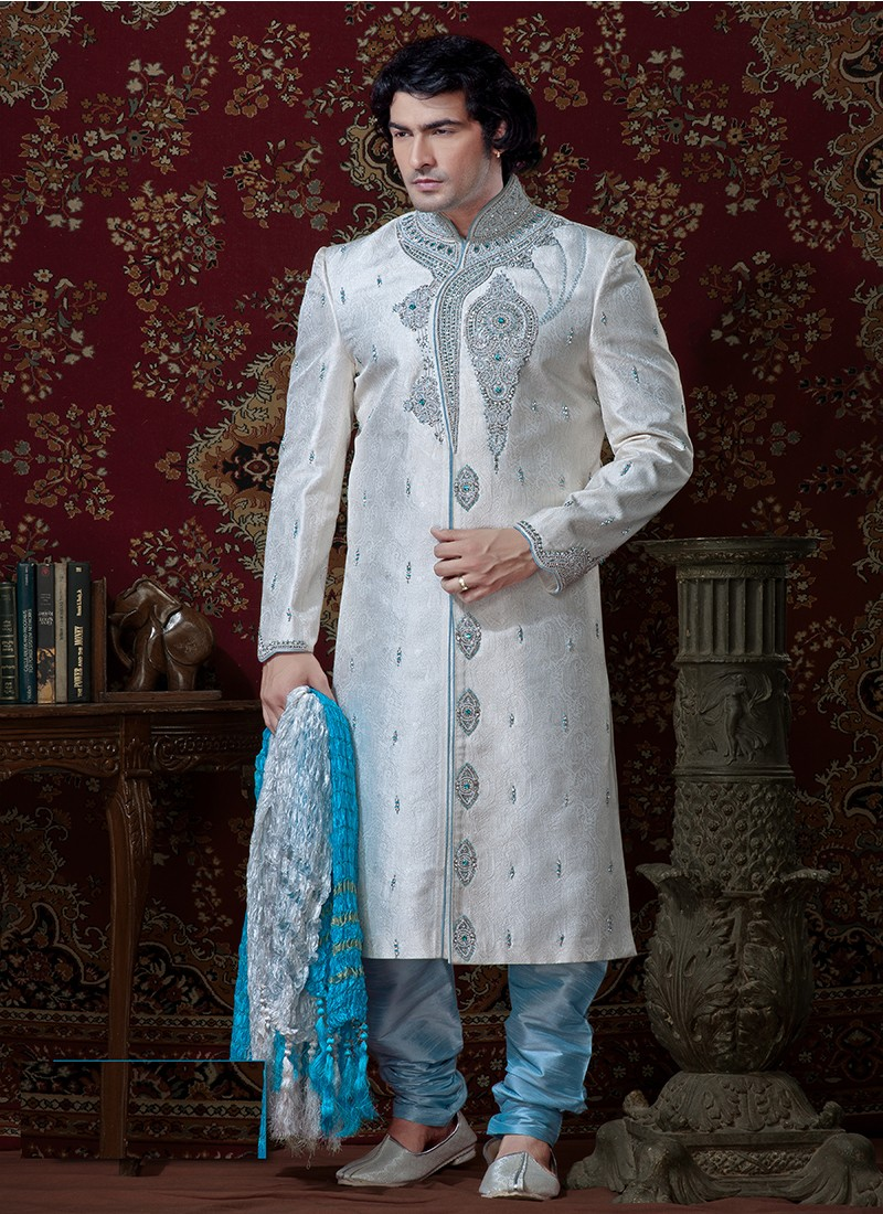 Gifts For Guys For Wedding Indian : Grooms Sherwani Blue And Off White at Best Prices - Shopclues Online ...
