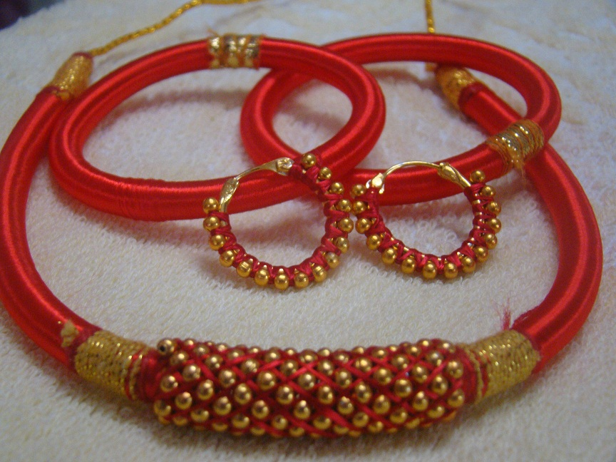 Shop Ethnic Handmade Woman Necklace Set Bangles Gift Silk
