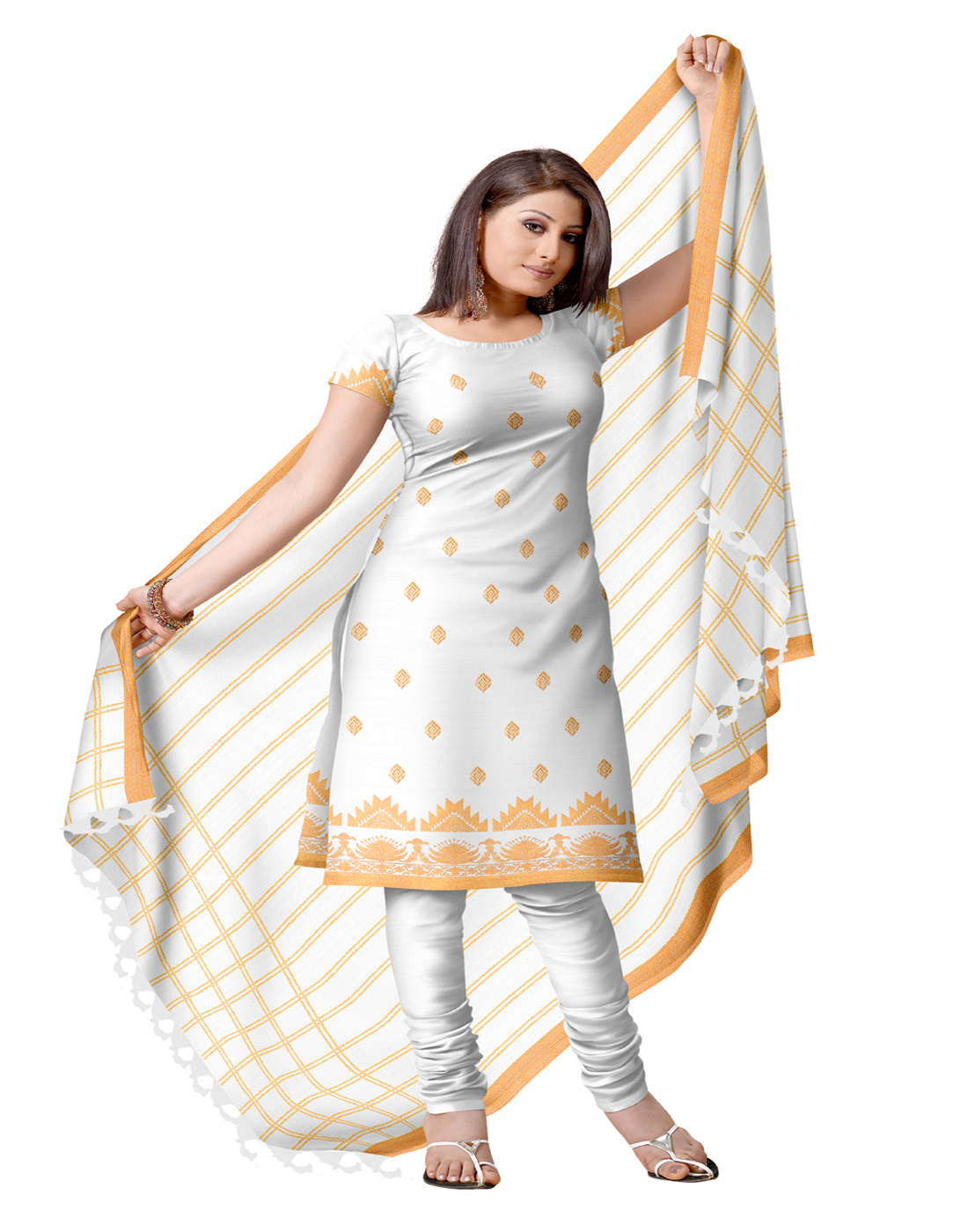 Shop Traditional Kerala Cotton Zari Border Dress Material ...