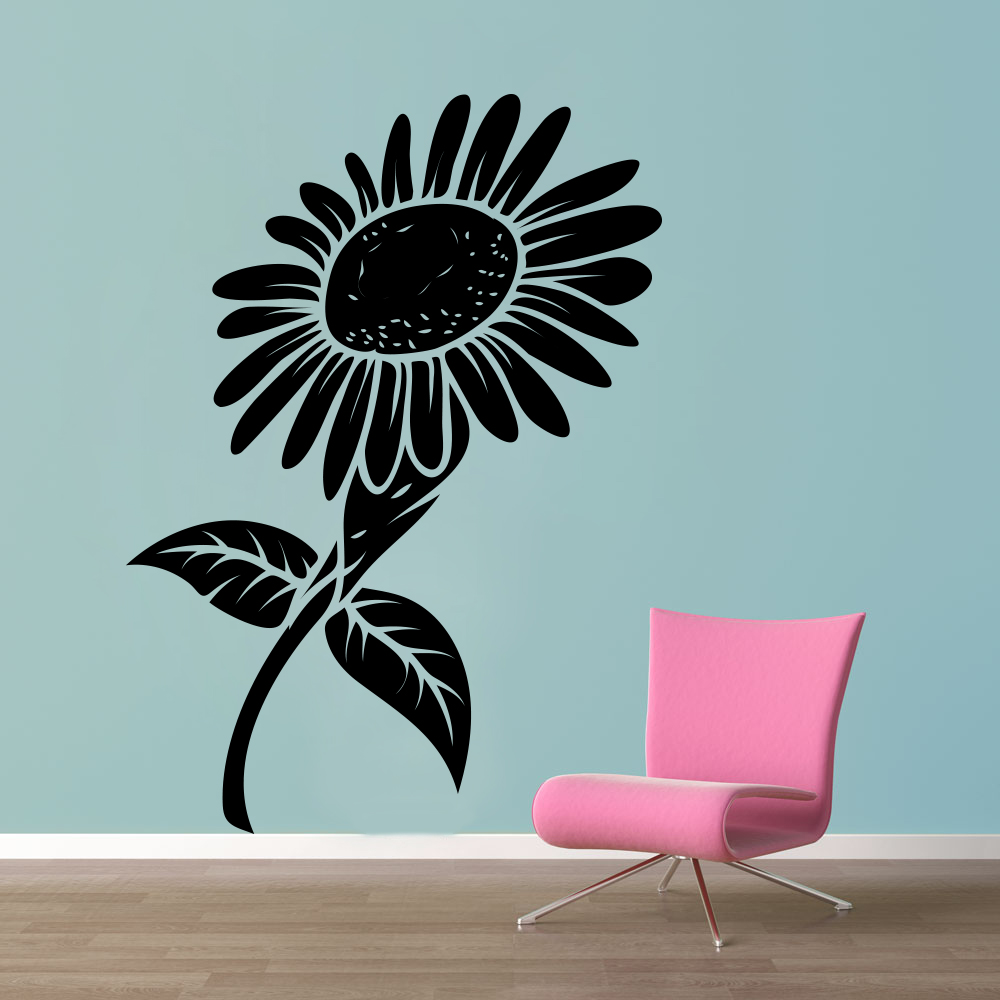 Shop Decor Kafe Black And White Sunflower Wall Decal