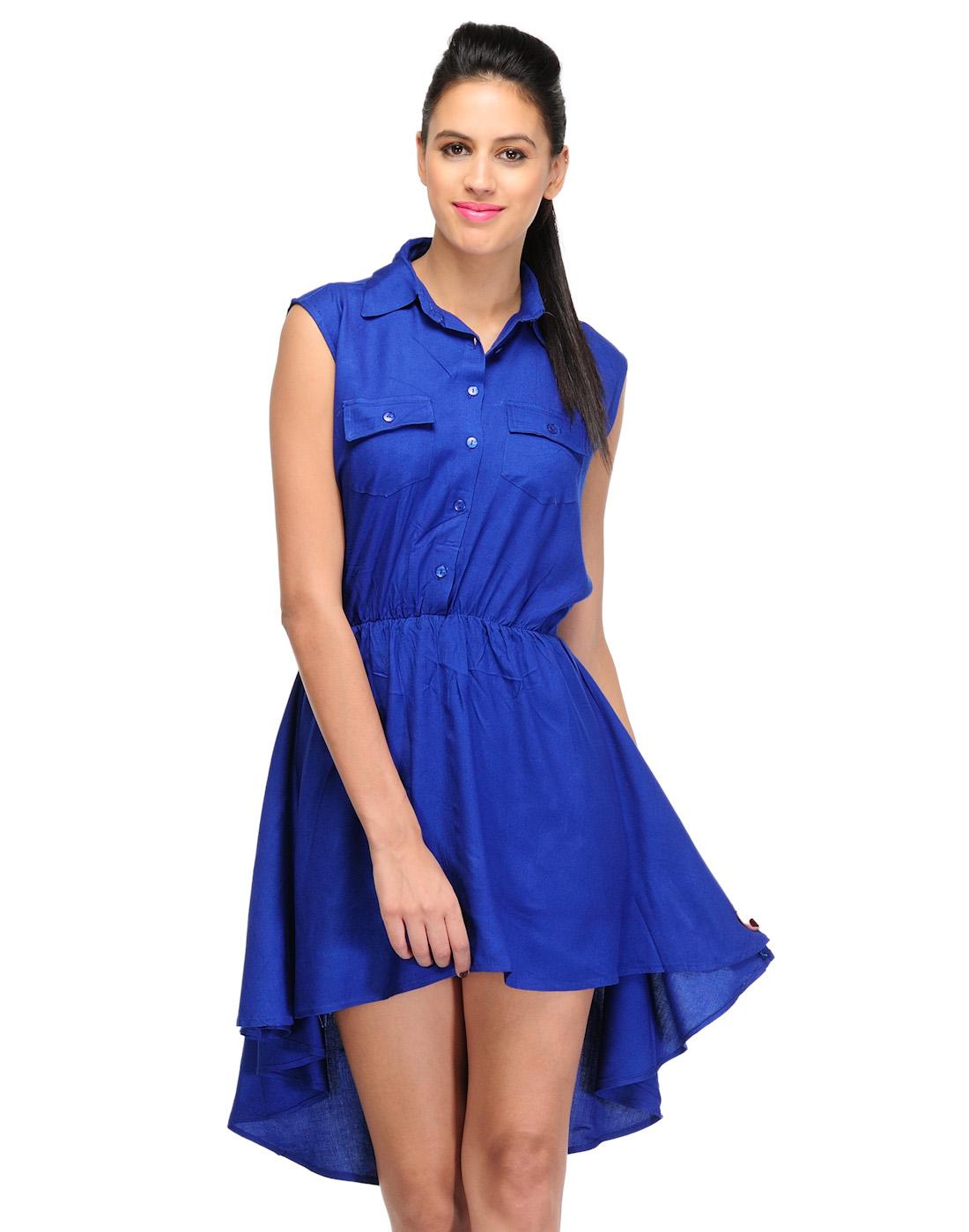 Sukuma Blue Pocket Style Short Dress Prices In India