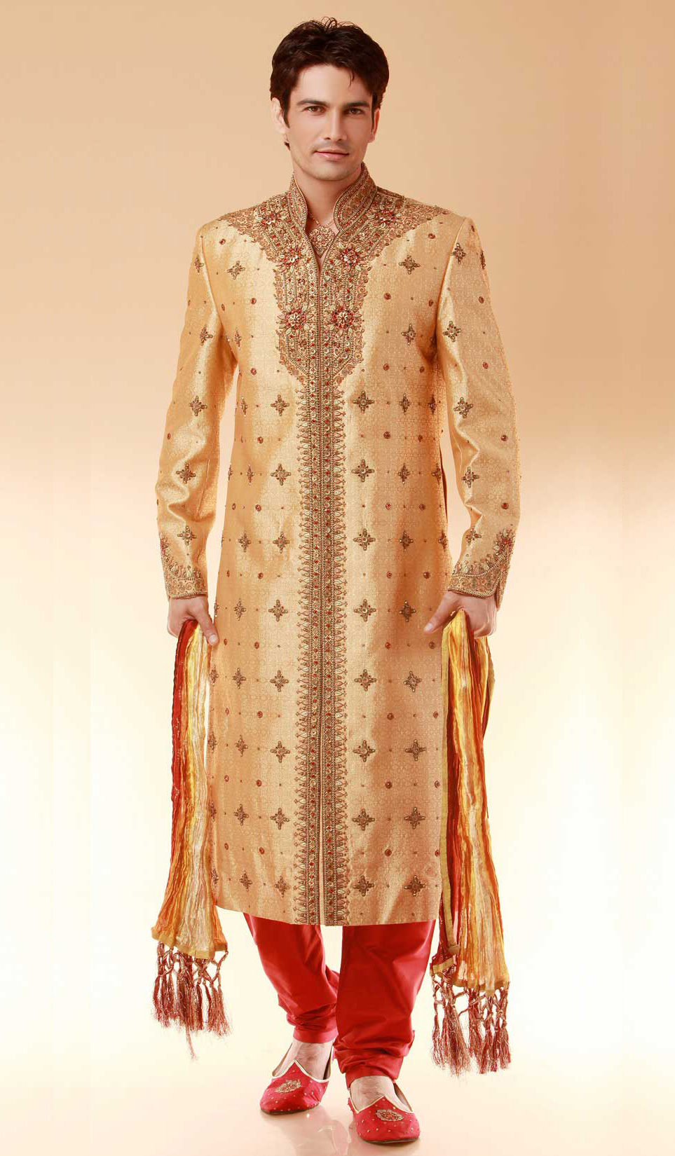 Online Brocade Designer Indian Wedding Sherwani Beige Size