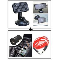 Vheelocity Car Sticky Pad Mobile Holder + Universal Micro Usb Car Phone Charger With Aux Cable