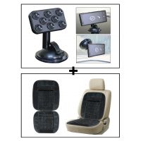 Vheelocity Car Sticky Pad Mobile Holder + Car Wooden Bead Seat Cushion With Grey Velvet Border