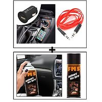 Vheelocity Universal Micro Usb Car Phone Charger With Aux Cable + Fms Car Dashboard Wax Spray 450Ml