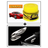 Vheelocity Waxpol Ultra Glo Polish With Uv Guard 100Gms + Chrome Wing Emblem Logo For Car Modification