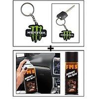Vheelocity Rubber Monster 'M' Keychain/Keyring For Bike/Car + Fms Car Dashboard Wax Spray 450Ml