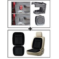 Vheelocity Foldable Car Drink / Can / Glass / Bottle Holder - Grey + Car Wooden Bead Seat Cushion With Black Velvet Border