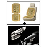 Vheelocity Car Wooden Bead Seat Cushion With Beige Velvet Border + Chrome Wing Emblem Logo For Car Modification