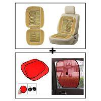 Vheelocity Car Wooden Bead Seat Cushion With Beige Velvet Border + Car Side Window Sunshades Stick On Sun Shade - Set Of 2 Pcs (Red)